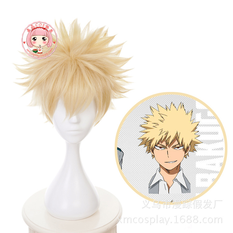 2019 New Anime My Hero Academia Baku No Hero Bakugou Katsuki Bakugo Short Linen Blonde Heat Resistant Cosplay Costume Wig