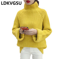 Autumn Winter Sweater Women's Knitwear 2018 New Fashion Loose Korean Thick High Collar Female Pullover Sweater Plus Size Is1295