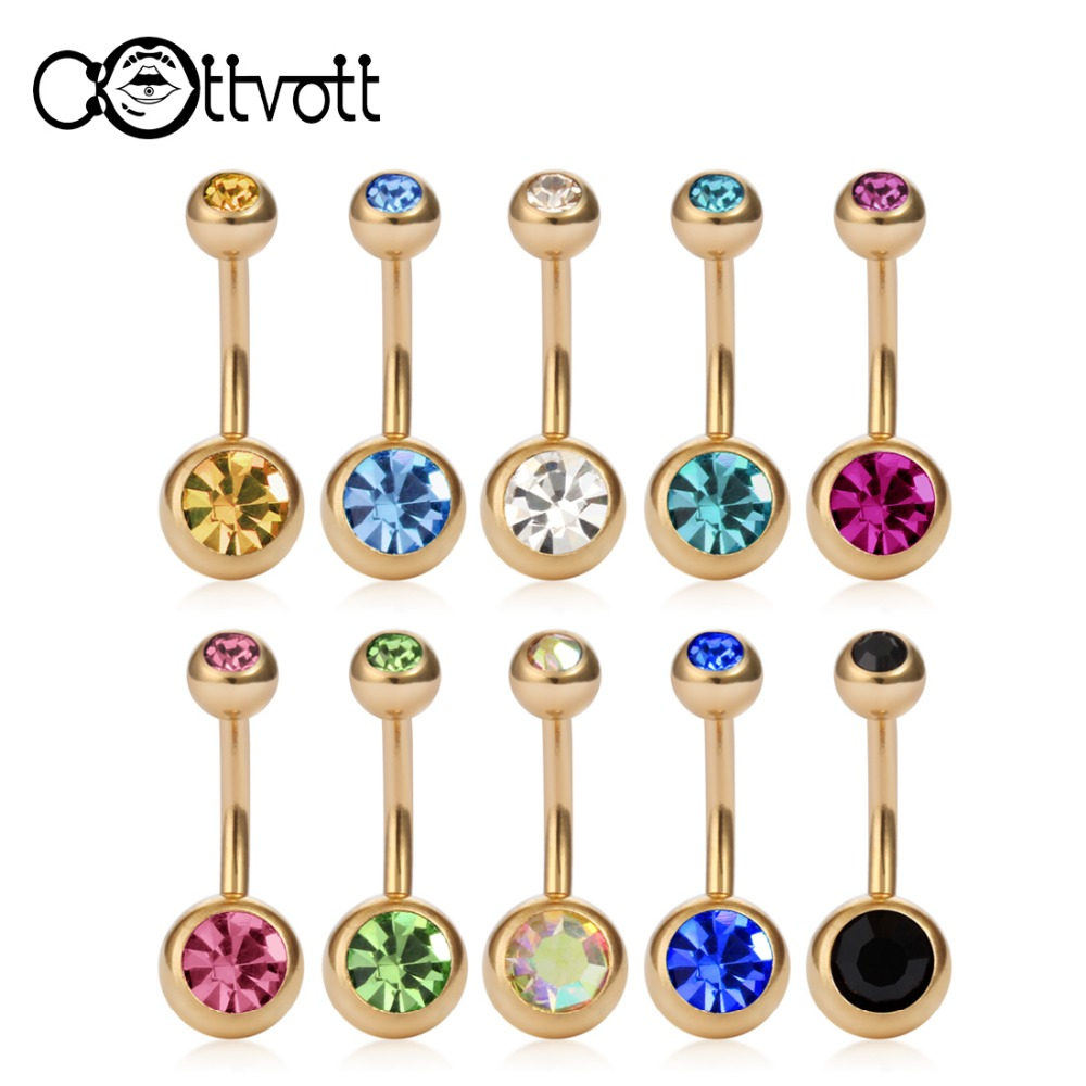 10Pcsset Mix Color Gold Color Belly Button Rings Navel Piercing Bar Double Crystal Head -6474