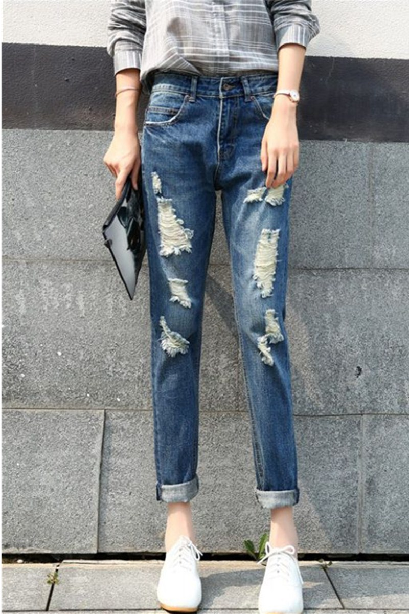 Ms Jeans Spring Full Length Straight Slim Show Thin Pencil Pants High Waist Ripped Bleached Jeans