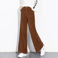 Female Casual Corduroy Brown Gray Blue Wide Leg Women S Bell Bottom Pants High Waist Trousers