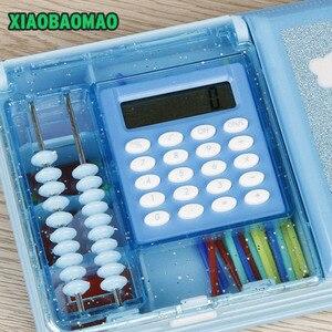Image 4 - Aperto del doppio dei bambini multi funzione di stile del fumetto contenitore di matita con la calcolatrice + calcolare perline cassa di matita della cancelleria regalo