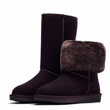 2017 Buyiniao Women's Winter Tall Snow Boots Warm Long Plush Genuine Leather Thigh high Boots Australia Platform Shoes For girls