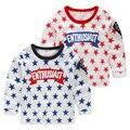 2016 spring autumn children's clothing boys t-shiirts  printed stars long sleeve cotton t shirt for boys kids t shirts top