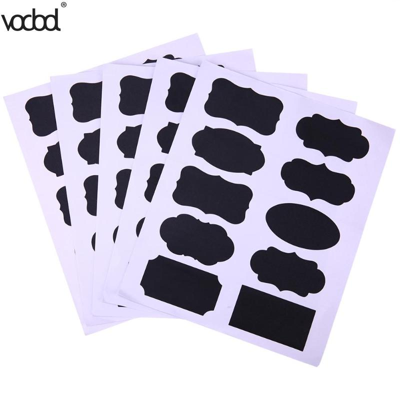 50Pcs/Set Chalkboard Blackboard Sticker Craft Kitchen Jar Organizer Windows Cup Can Storage PVC Memo Lables Office Stationery