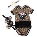 Bebes menina roupa Do Bebê de Algodão Dos Desenhos Animados Minnie manga Curta Listrada Bodysuits/Jumpsuit + sapatos + Cabeça da roupa Do Bebê Da Criança conjunto