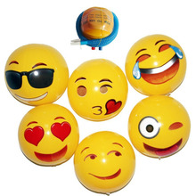 6PCS/Lot Emoji Inflatable Beach Ball Outdoor Fun Sport Toy Ball With Inflator Pump