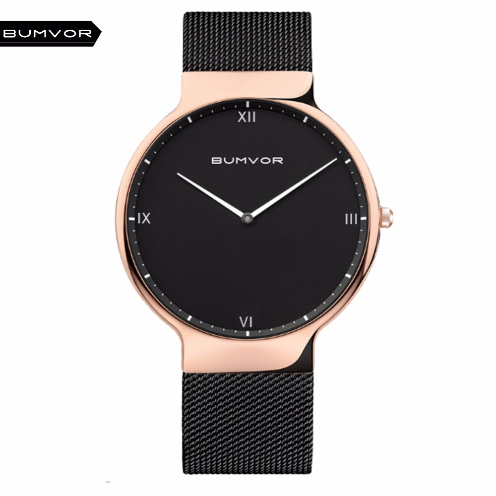BUMVOR Ultra Thin Watches Men Quartz Stainless Steel Men's Watches  Brand Clock Man  Fashion Casual Wristwatches Bering Style