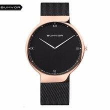 BUMVOR Ultra Thin Watches Men Quartz Stainless Steel Men's Watches