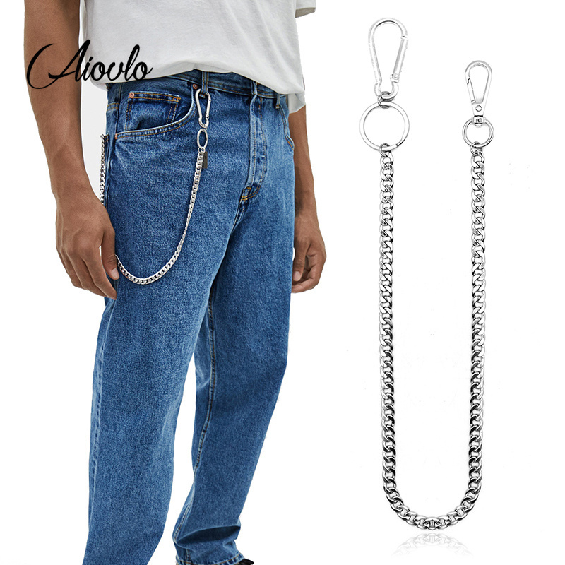 45cm Stainless Steel Punk Hip-hop Trendy Belt Waist Key Ring Trouser Chain Male Pants Chain Men Jeans Punk Silver Wallet Chain