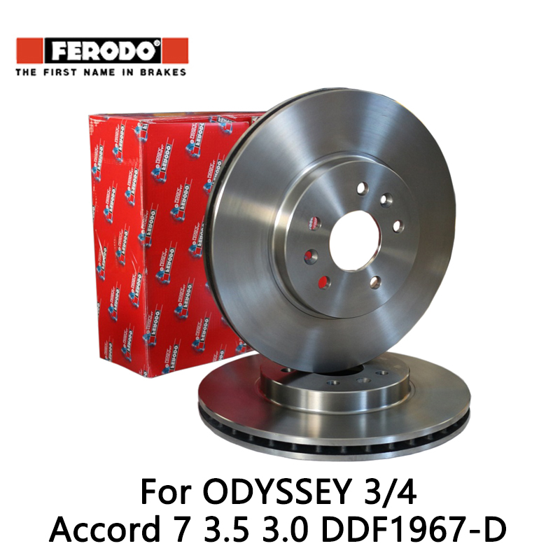 2pcs/lot Ferodo Car Front Brake Disc For ODYSSEY 3/4 2.4L Accord 7 3.5 3.0 DDF1967-D колодки ferodo 2 4