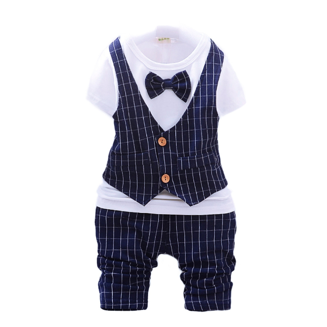 8e0632c70b5c Formal suit for baby little boy Evening Wedding birthday party dress suit  child short pant set summer clothes boys 1 2 3 year