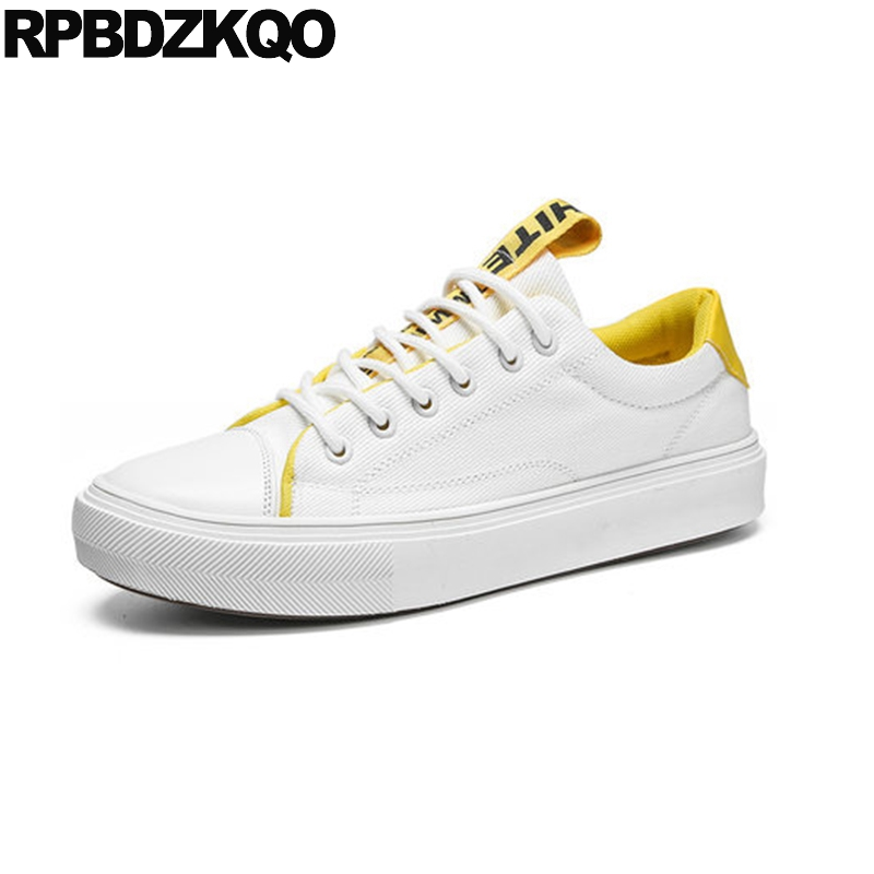 Sneakers New 2018 Lace Up Rubber Comfort Summer Breathable Skate Trainers White China Designer Men Canvas Shoes Casual High Top 1