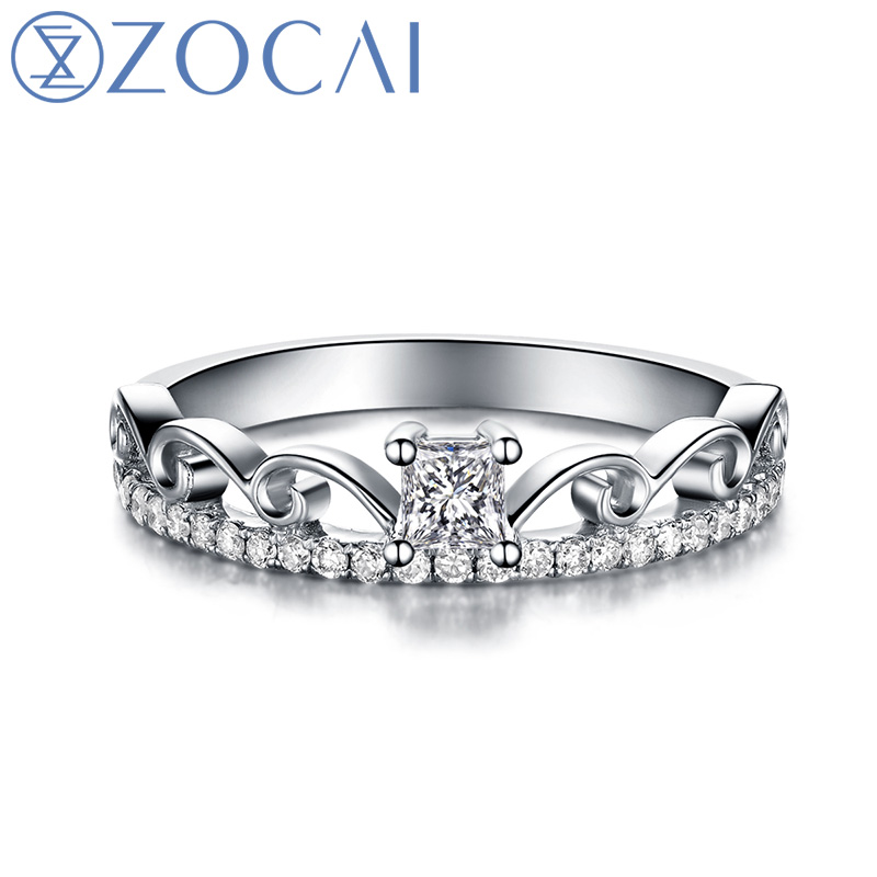 zocai brand love crown real diamond ring 031 ct i j vs diamond wedding ring 18k - Real Diamond Wedding Rings