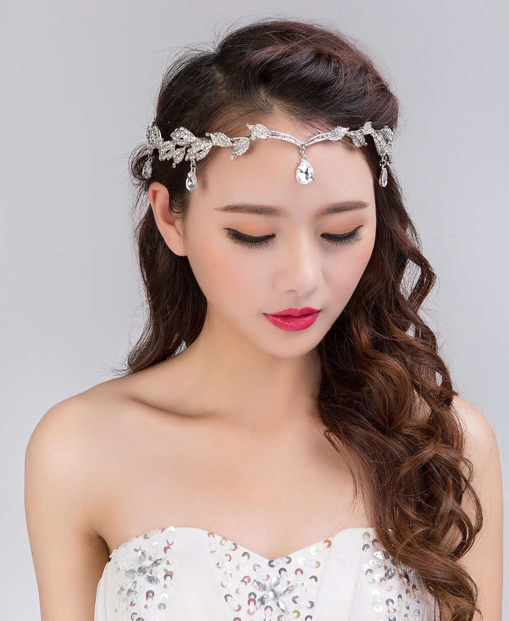 Shiny Crystal Frontlet Bridal Hair Accessories Crown Bride Forhead     Shiny Crystal Frontlet Bridal Hair Accessories Crown Bride Forhead Wedding  Prom Princess Party Headband in Hair Jewelry from Jewelry   Accessories on
