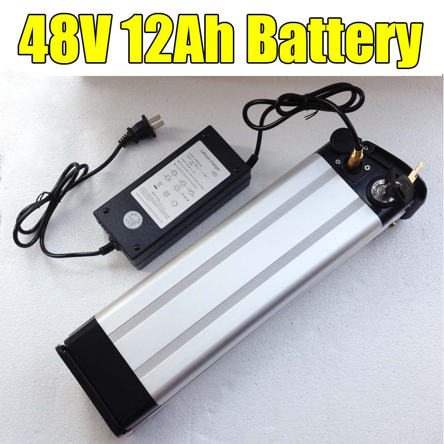 48V 12Ah Li-ion Battery with Aluminum Case BMS 2A Charger For Ebike Motor 500W conhismotor atlas ebike 48v 11 6ah lithium ion down tube frame case battery pack for 10a 3c 18650 cell with bms and 2a charger