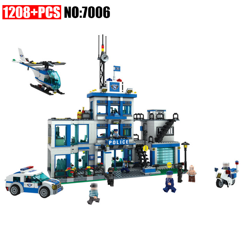 Winner 1208Psc 7006 City Police Series Building Blocks Police headquarters Children Brick Toys For Boys Gift police pl 12921jsb 02m