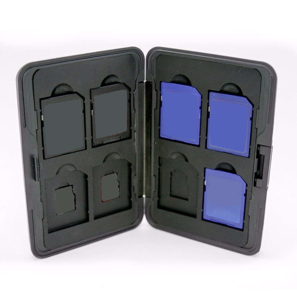 Portable Silver Plastic Memory Card Case 16 Slots (8+8) For Micro SD SD/ SDHC/ SDXC Card Storage Holder New Card Case