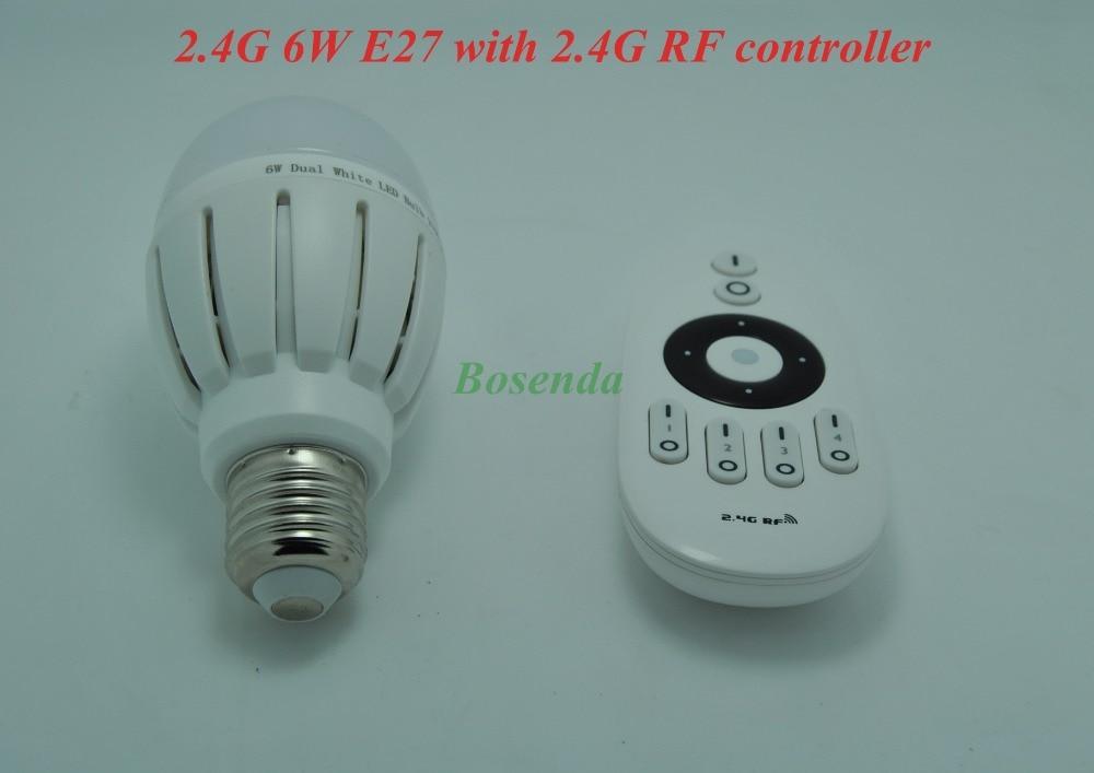 ФОТО Mi.light 2.4G RF Wireless Adjustable AC 85-265V 6w LED Bulb E27 with 2.4G RF Output 4-channel Remote 7.5W Controller