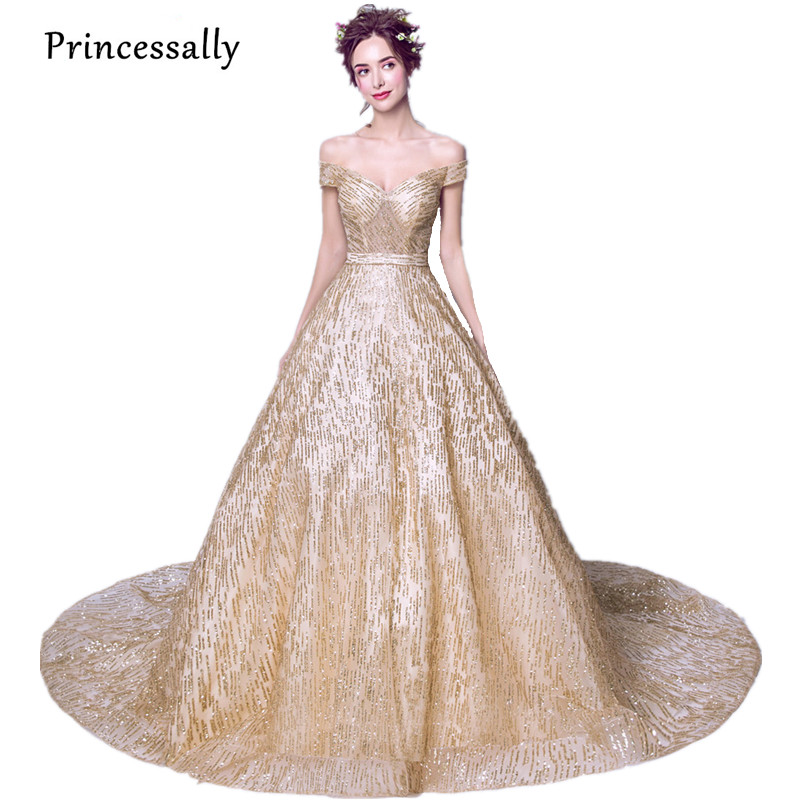 Princessally New Gold Sequin Evening Dress With Train High-grade Sexy Sweetheart Cap Sleeve Elegant Bride Banquet Party Gown