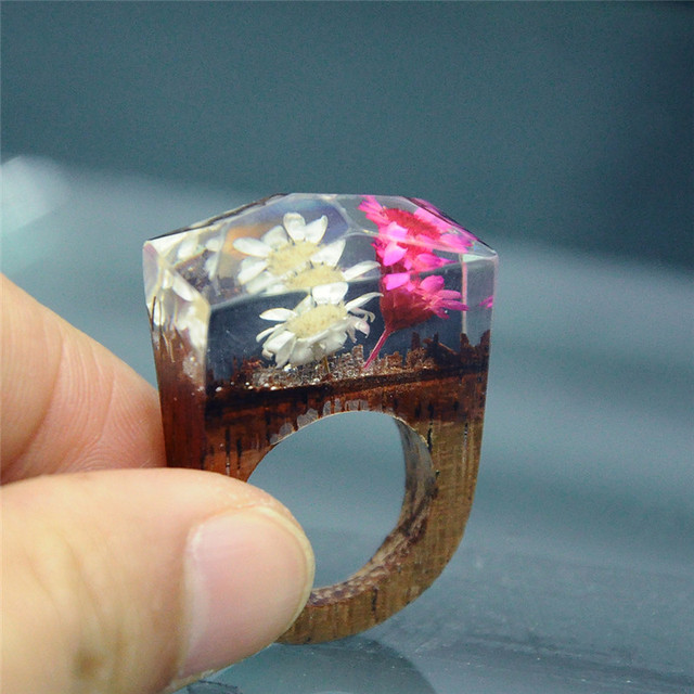 Unique Magical Wooden Ring Secret Undersea Gold Flake In