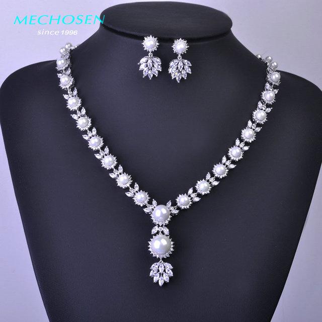Mechosen beads africanos set jóias colar do parafuso prisioneiro de zircônia cz brinco de platina revestida de cobre festa de casamento pérolas brincos schmuck