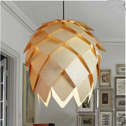 Novelty art design natural basswood pineal pendant lights Lovely modeling self-assembly hang lights for vestibule&corridor&porch database modeling and design