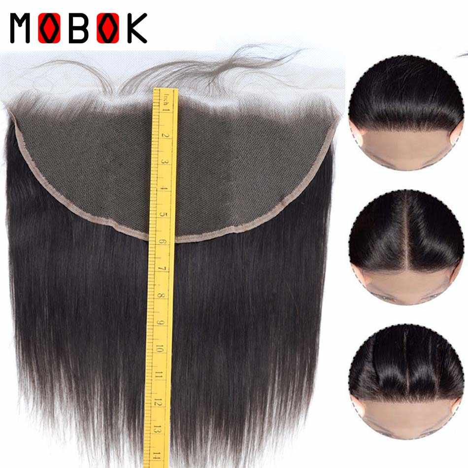 Mobok Brazilian Straight Hair Frontal Remy Human Hair 13*6 Ear To Ear Full Lace Frontal Closure Bleached Knots With Baby Hair