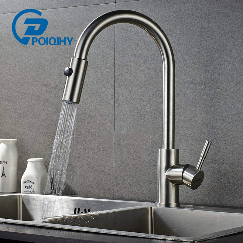 POIQIHY Low pressure kitchen faucet Brushed Nickel sink mixer taps Rotatable Kitchen Spring Sink Spray Faucet