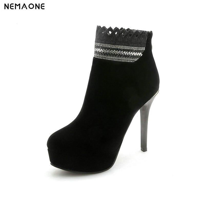 Knöchel-boots Nemaone Super High Heels Frauen Stiefeletten Sexy Damen Party Kleid Schuhe Plafform Winter Herbst Stiefel Frau Größe 42 43 Produkte Werden Ohne EinschräNkungen Verkauft