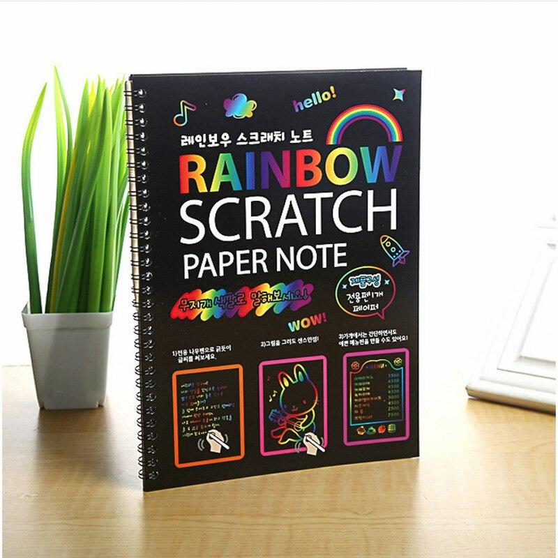 19*26 cm gran magia Color arco iris de papel rasguño nota libro negro de dibujo DIY juguetes raspado pintura chico Doodle