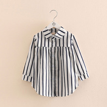 Girls Tops 2018 Spring Autumn Fashion Trend 2-10 Years Old Long Sleeve Kids Girl Stripe Blouses Shirts Full Sleeve new dew shoulder design clothes the horn sleeve beautiful stripe girls blouses