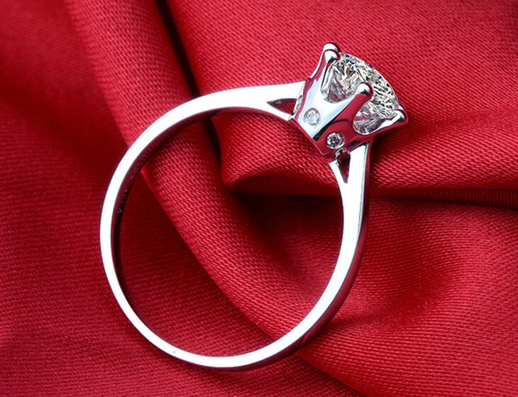 1ct Women Cubic Zirconia Brilliant Round Cut Classic Engagement Ring Genuine 925 Sterling Silver Solitaire Ring Anniversary Gift