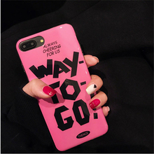 """Mr.orange """"WAY TO GO """" Fashion Pink Letter Case for iPhone 6 6S 6plus 6Splus 7 7 plus Smooth and Shiny Soft TPU Back Cover Case"""