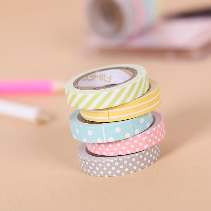 5 pcs set color paper paper tapes handmade diy for Diy colored paper