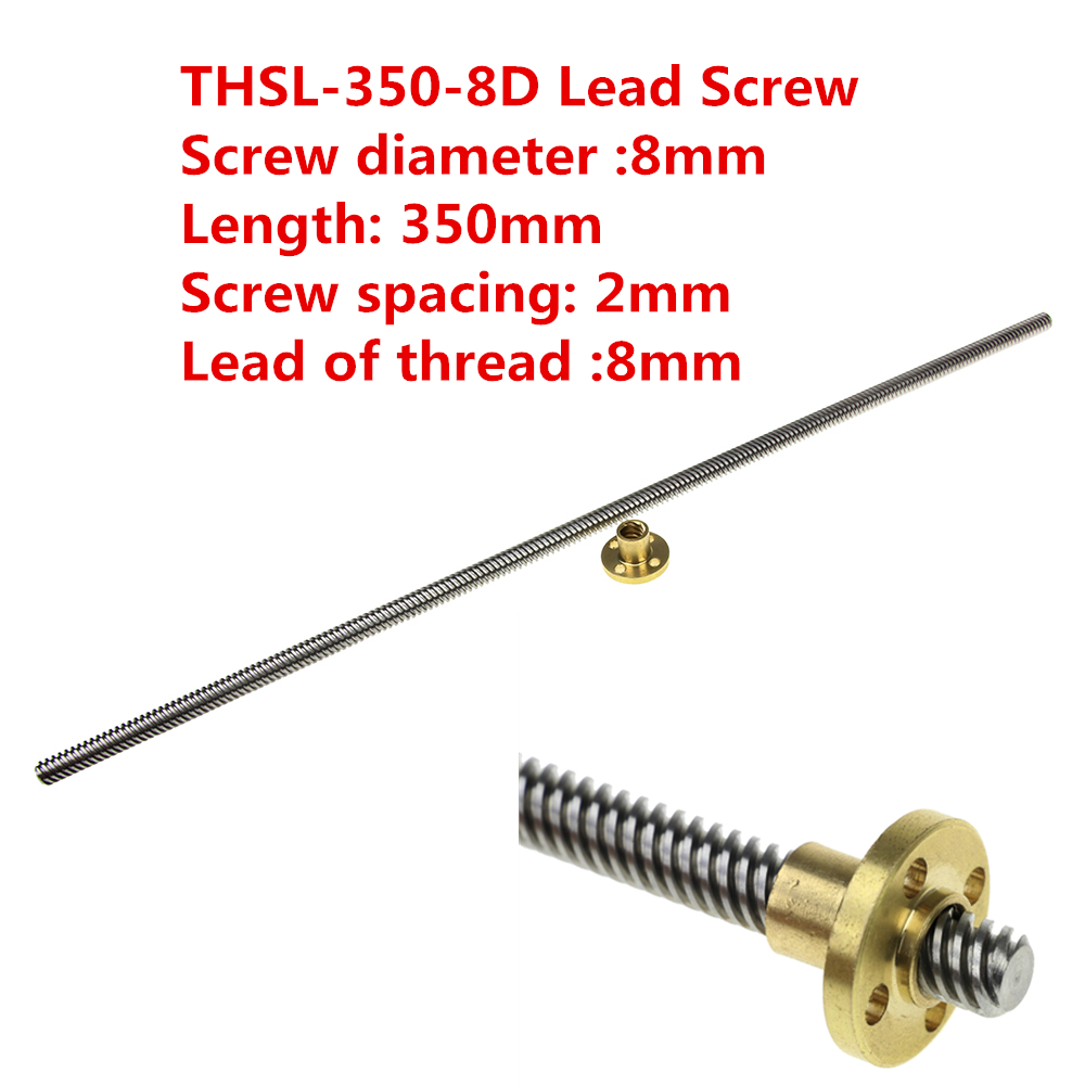 3D Printer THSL-350-8D Lead Screw Dia 8MM Thread 8mm Length 350mm Trapezoidal Spindle Screw with Copper Nut 3d printer parts reprap ultimaker z motor with trapezoidal lead srew tr 8 8 p2 free shipping