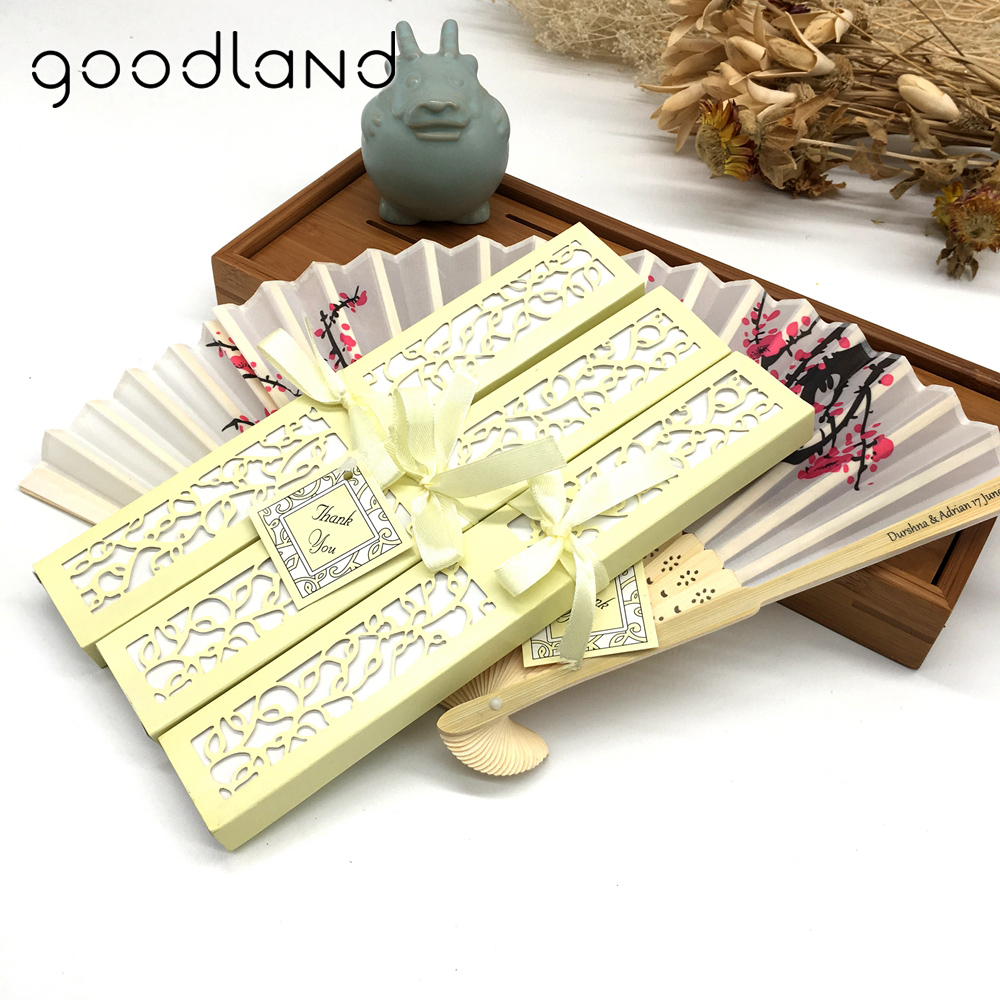 Free Shipping Personalized Cost 100pcs lot with Paper Gift Box Silk Bamboo Plum Blossom Flower Party