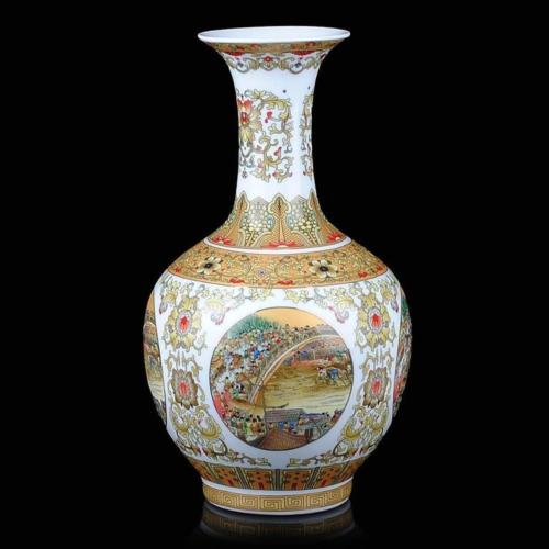 The fine Chinese antique vases, red enamel vase-Along the River During the Qingming Festival decoration