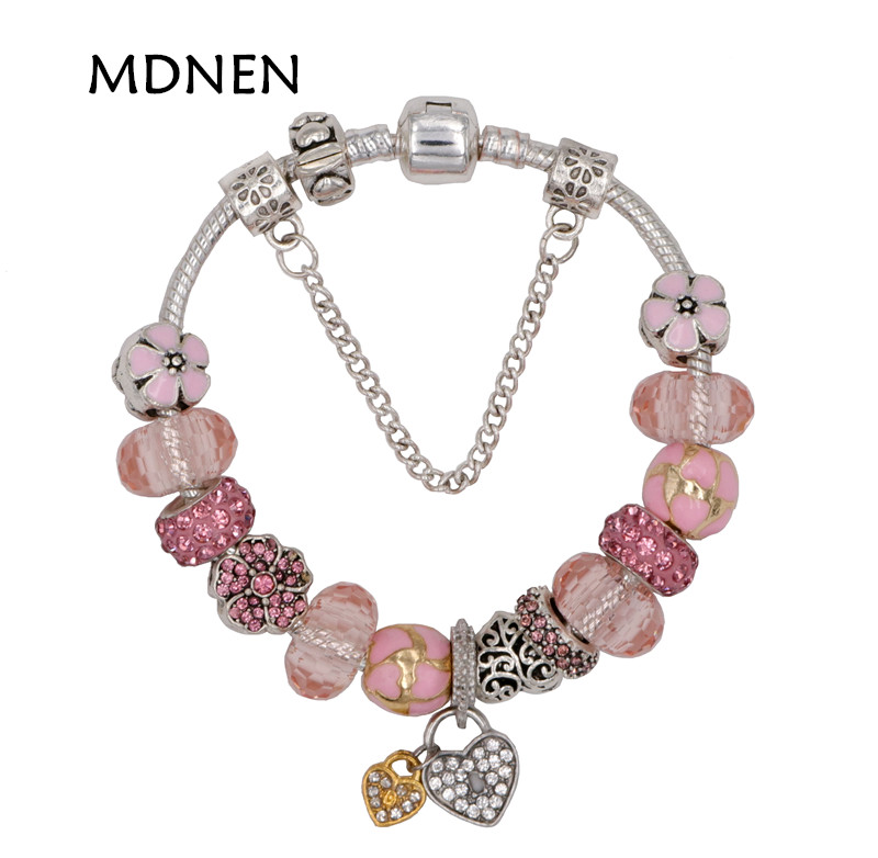 MDNEN High Quality Pretty Cute Silver plated Pink Crystal Heart Pendant Charm Bracelet Pandora Bracelet For Women gift jewelry