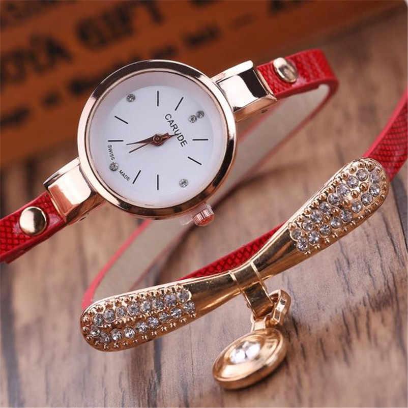 Kadın saatler moda Casual bilezik İzle kadınlar Relogio deri taklidi Analog quartz saat saat kadın Montre Femme P20
