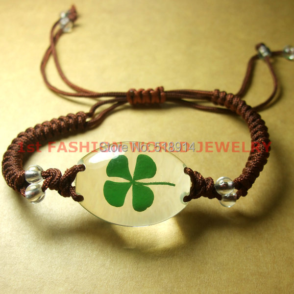 2014 Real 4 Four Leaf Lucky Clover Shamrock Resin Bracelet Bangle Jewelry Party Gift New Year Present - LOTUS INCENSE WAY store