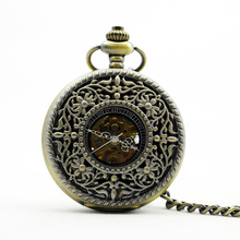 935 Classic Steampunk Bronze Skeleton Stainless Steel Mens Woman Hand-winding Mechanical Pocket watch
