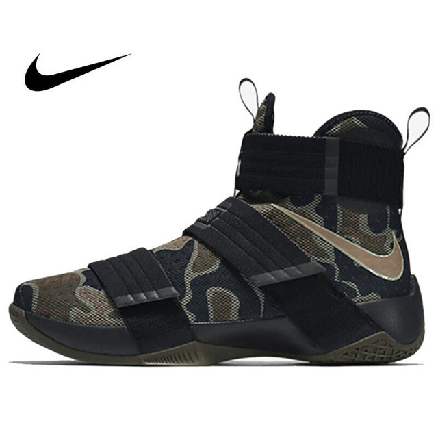 e2635ffa1db6 Original Authentic NIKE Originals LEBRON SOLDIER 10 Men s Cool Camouflage  Basketball Shoes Sneakers High Breathable Durable