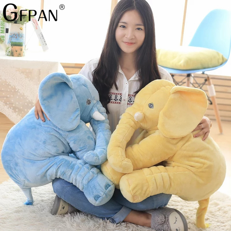 1pcs 40/60cm Stuffed Soft Pillow Elephant Doll Baby Sleep plush Toys Room Bed Decoration Sleeping Back Cushion Best Gift for Kid 3pcs star moon cloud wall hanging doll baby comforting plush stuffed room decoration christmas toys birthday gift dash pillow