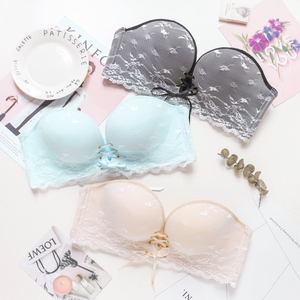 Image 1 - 1/2 cup seamless woman sexy bra set lace one piece lady underwear suit belt push up knead brassiere and transparent panties