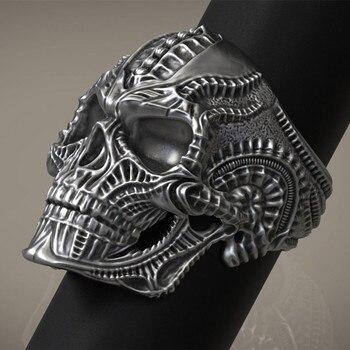 316L Stainless Steel Alien Skull Ring for Men