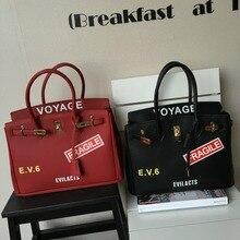European and American classic 35cm women's handbag big capacity funny printing letter bags fashion lock decoration bag