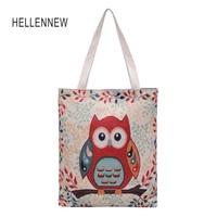 Hellennew Canvas Women Handbags Tote Bag Owl Ladies Hand Bags Bolsa Feminina Sac A Main Femme
