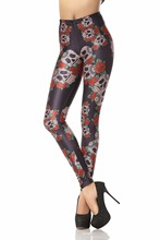 KDK1046 Sexy Girl Halloween Skull Rose Flower Printed Elastic Slim Fitness Women Jogging Sport Yoga Leggings Pants Trouser