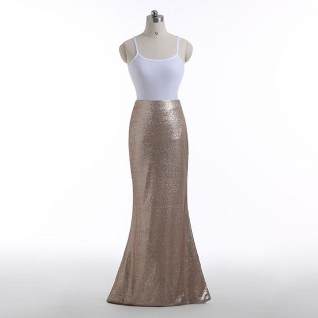 Real Image High End Sequins Mermaid Long Skirts For Women Custom Made High Quality Shiny Skirt Color Free Zipper Style